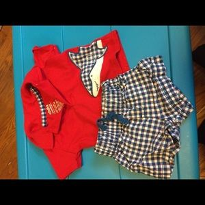 Carters newborn red and blue shark shorts outfit